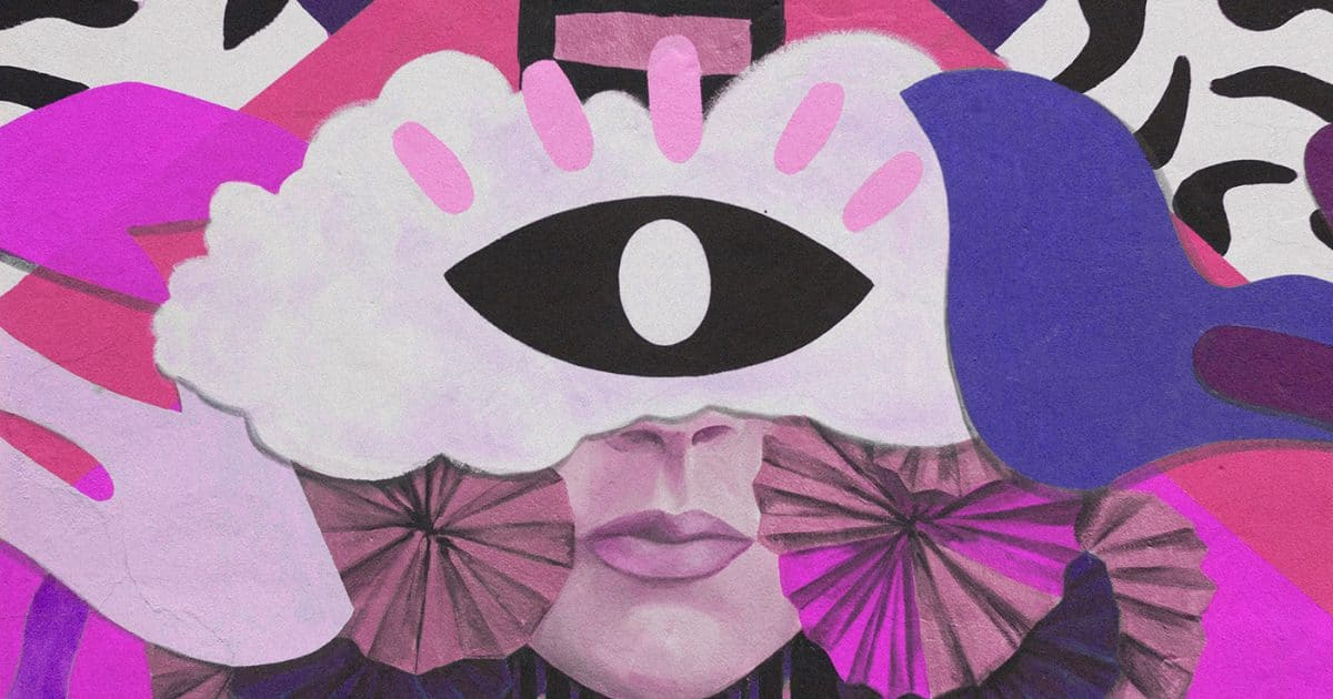 DoubleBlind: Collage of an eye over a face. Where are All the Queer People?