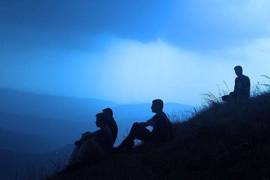 Young adults on a hill