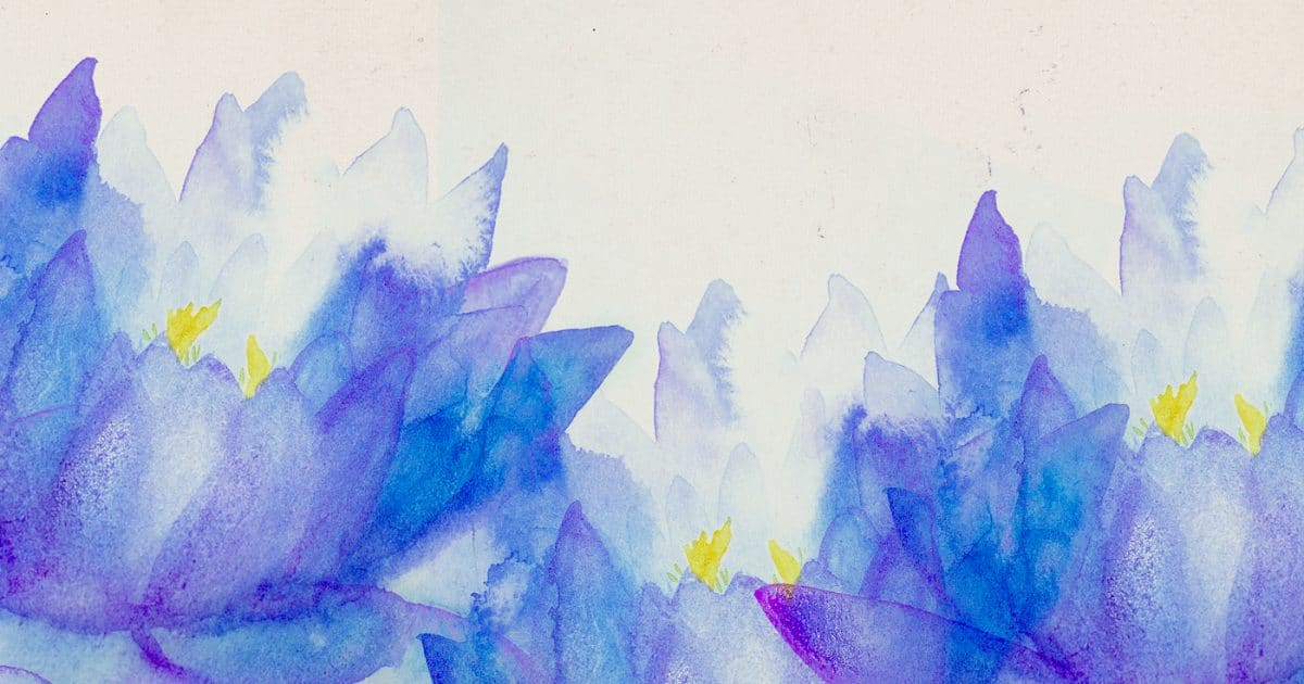 DoubleBlind: Watercolour painting of a blue lotus flower from Africa