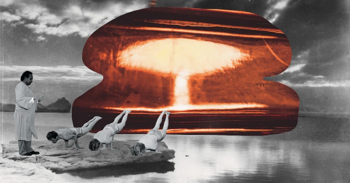 Doubleblind: collage of a nuclear bomb within the landscape of melting ice with three people doing yoga. In this article, Doubleblind explores the strange joy of climate change..