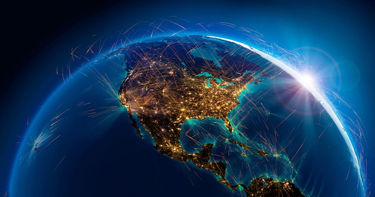 Air routes above North America