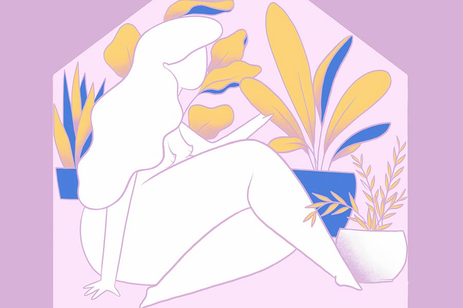 Doubleblind- illustration of a woman at home with plants. In this article, doubleblind explores how everything this cancelled due to COVID-19. It explores how the psychedelic community is coping with this pandemic.