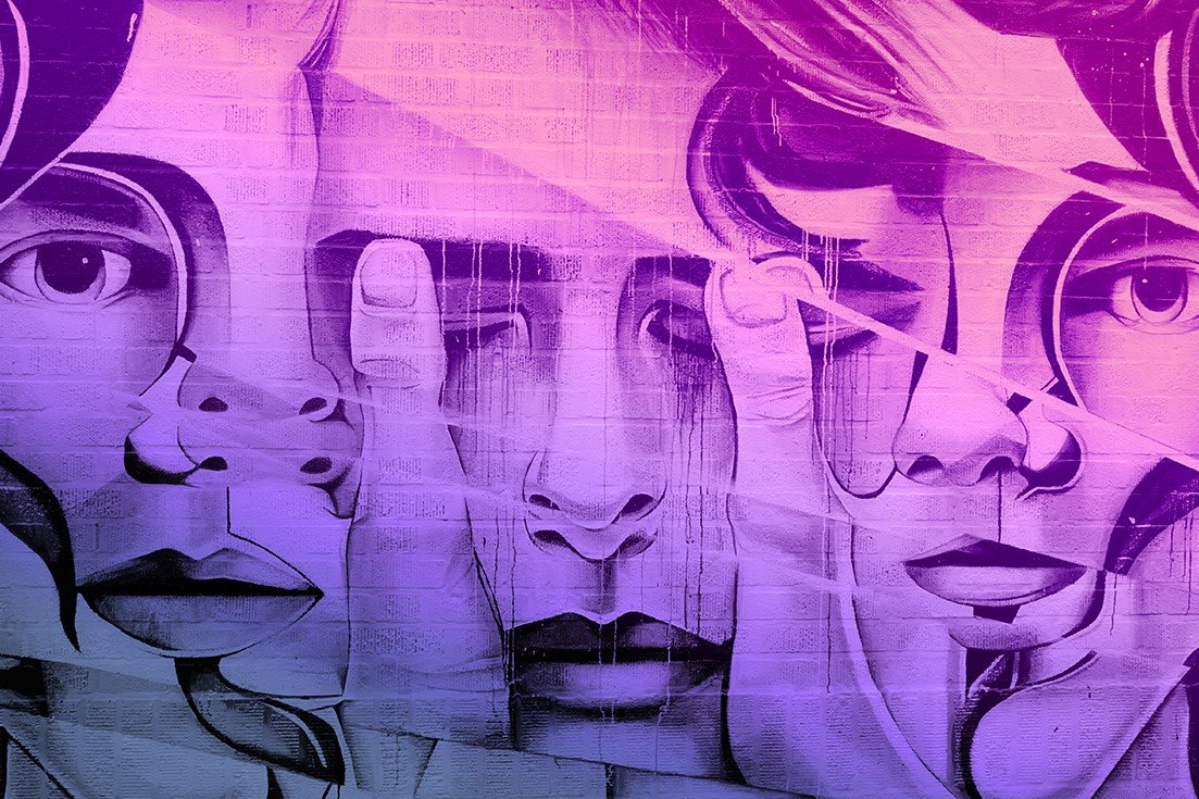 DoubleBlind: Mural of faces covering eyes. In this article, DoubleBlind explores how psychedelics help with gender identity and transition.