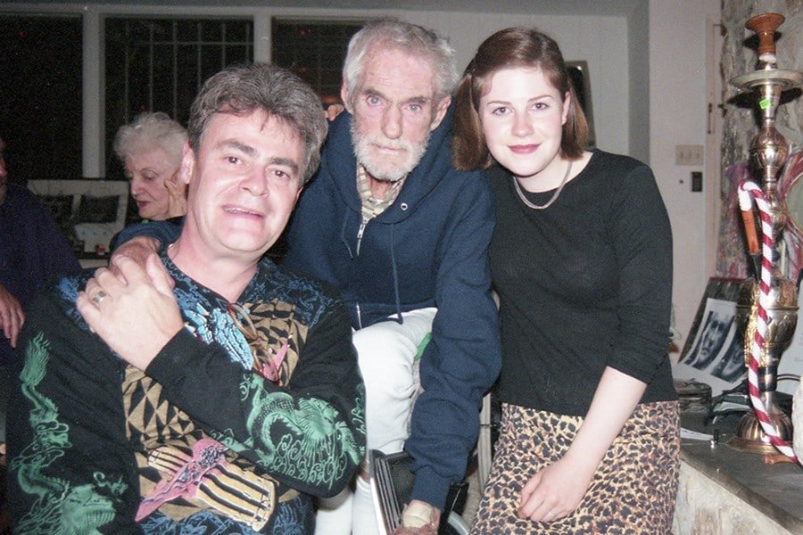 DoubleBlind: Image of Roger Steffens, Timothy Leary, and Roger's daughter, Kate.