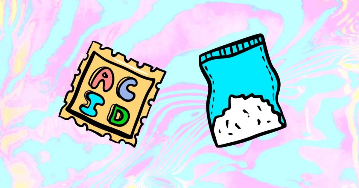 DoubleBlind: Image of illustrated LSD tab and bag of white powder. In this article, DoubleBlind explores what happens when you candy flip—mixing acid and MDMA together.