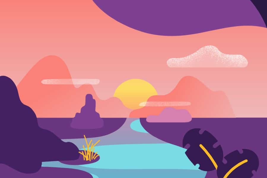 DoubleBlind: Illustration of river at sunset. In this article, DoubleBlind explores the Trip app, a new platform to guide you through psychedelic trips.