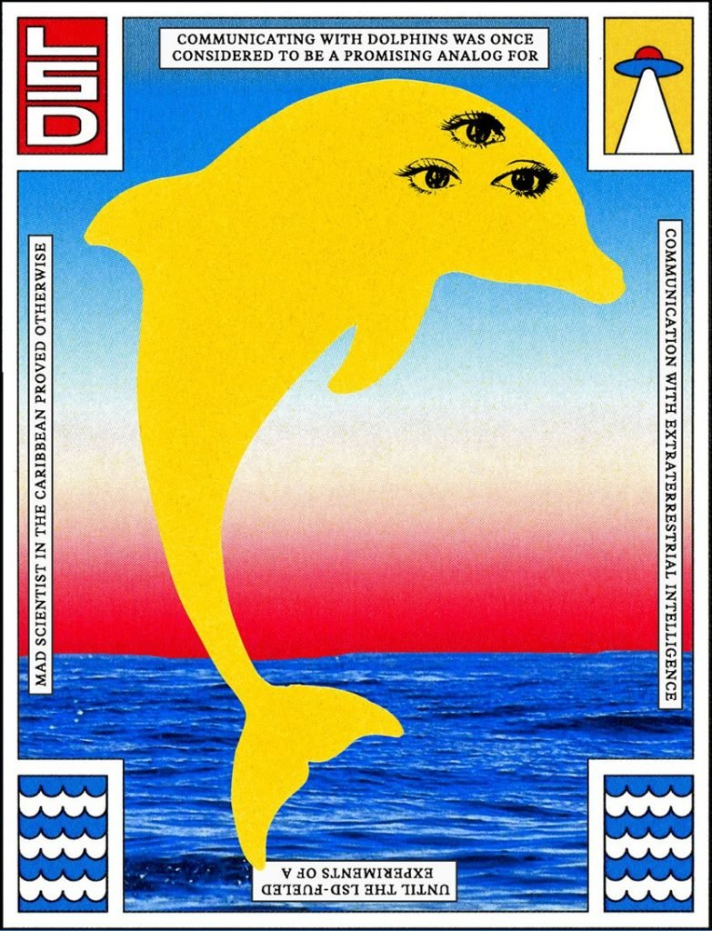 DoubleBlind: Colorful psychedelic illustration. In this article, DoubleBlind explores how dolphins on LSD shaped the search for extraterrestrial intelligence.