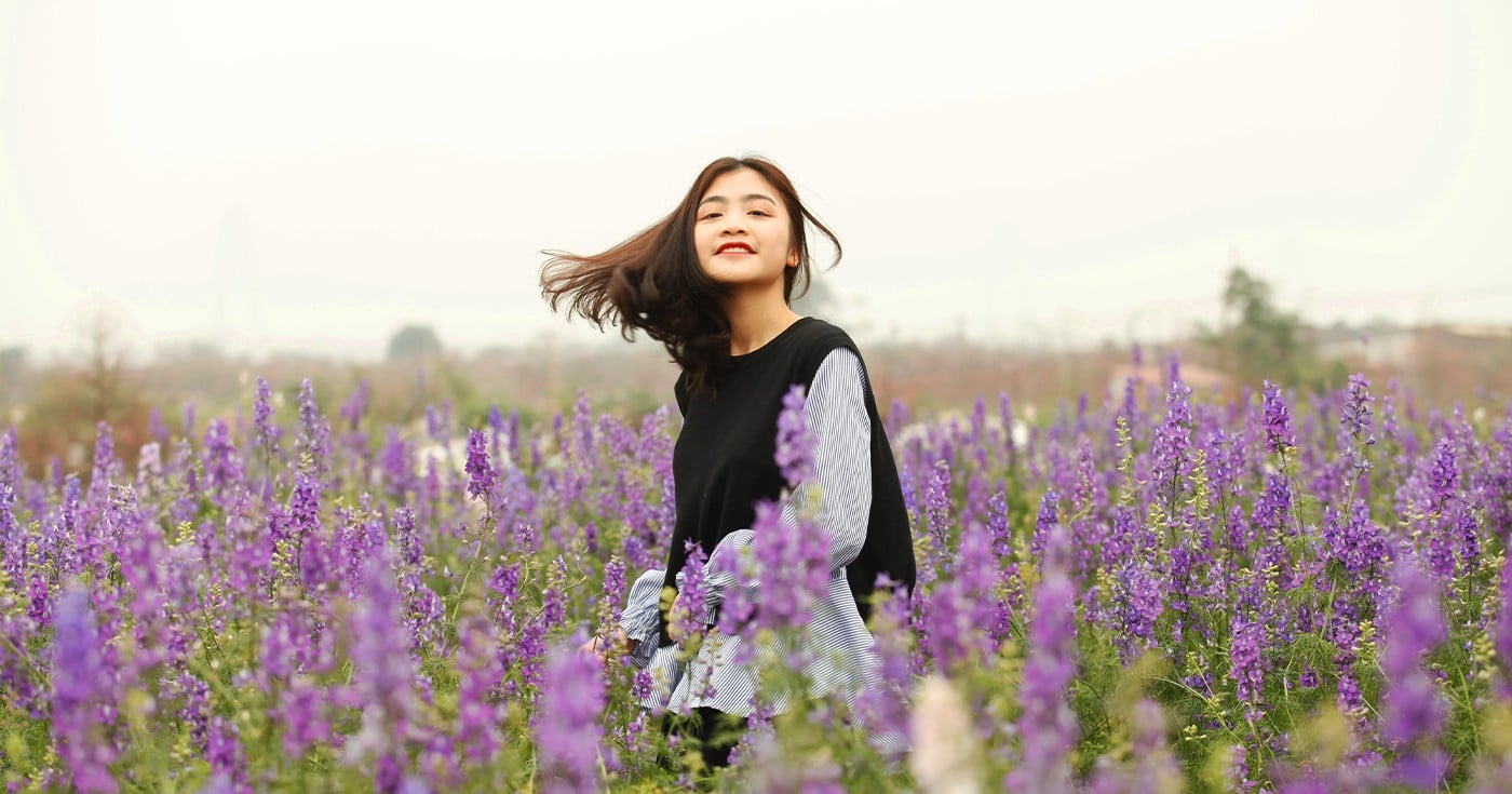 DoubleBlind: Image of woman in lavender field. In this article, DoubleBlind explores different herbs that can enhance the psychedelic experience.