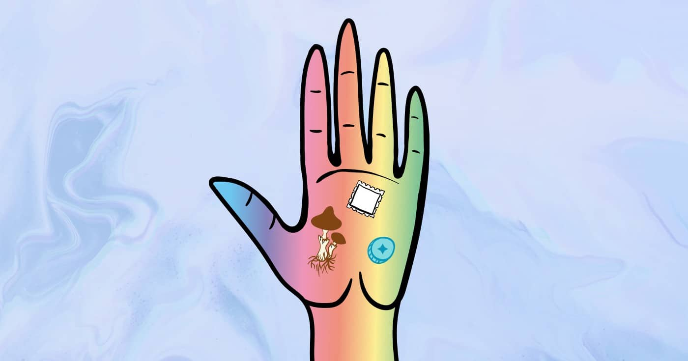 DoubleBlind: Illustration of hand holding magic mushrooms, a tab of LSD, and ecstasy. In this article, DoubleBlind explores jedi flipping.