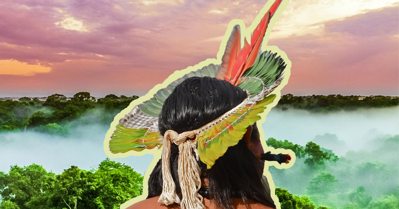 DoubleBlind: Image of Indigenous man on Amazon rainforest in Brazil. In this article, DoubleBlind explores the attempt to legalize wholesale destruction of the Amazon rainforest.