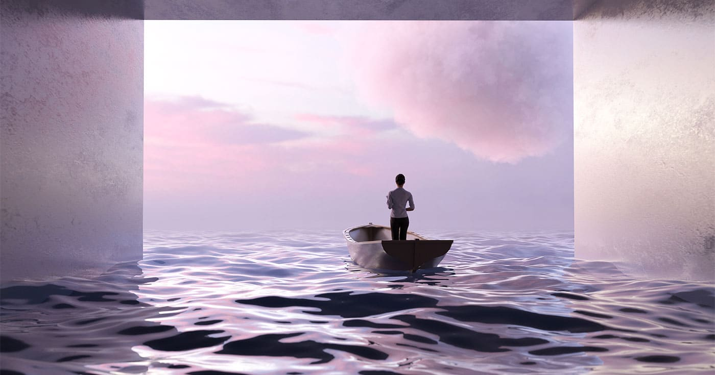 DoubleBlind: Image of person in rowboat looking out over clouds. In this article, DoubleBlind explores whether psychedelics may help people cope with their fears of death.