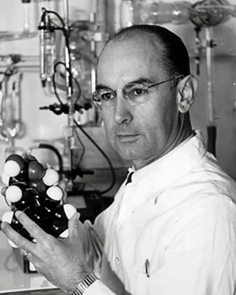 DoubleBlind: Image of Albert Hoffman in Sandoz lab. In this article, DoubleBlind explores the history and effects of the drug LSD.