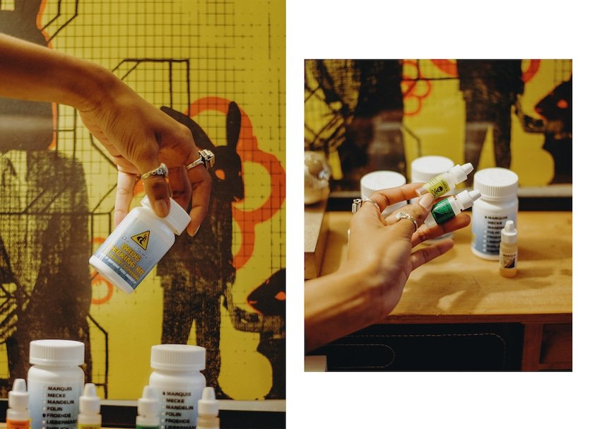 Two images of hands holding drug testing kits
