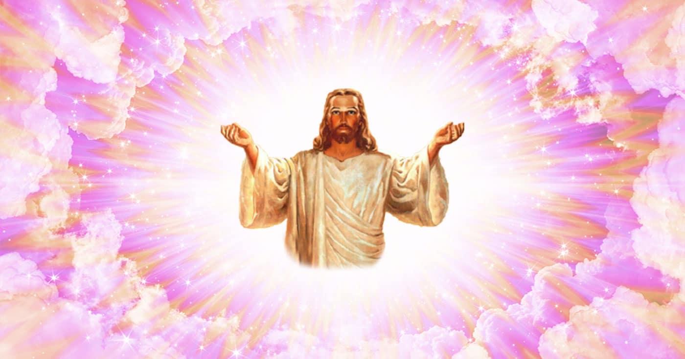 Illustration of Jesus on psychedelic pink and orange cloud background