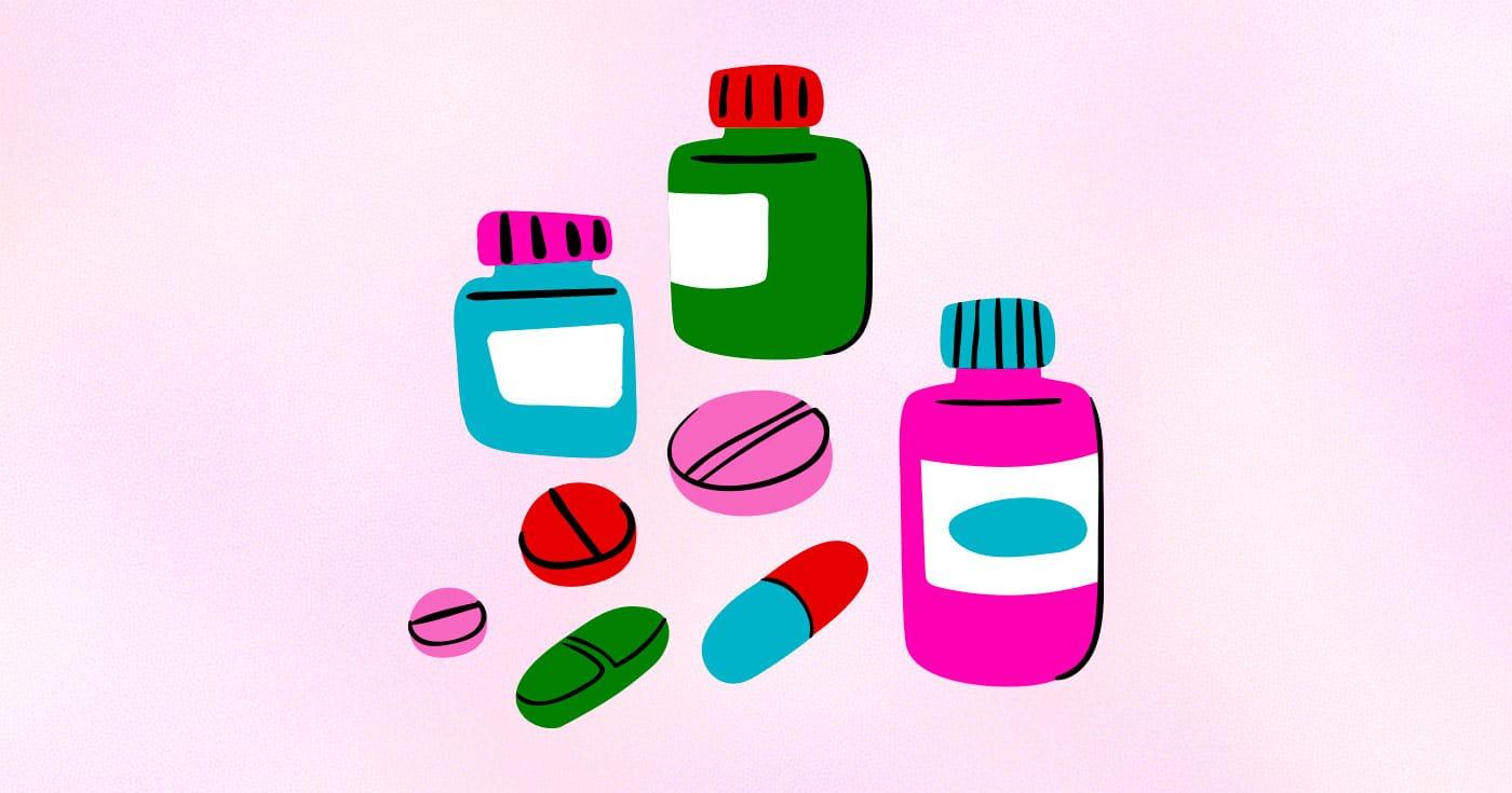 Illustration of pill bottles and pills