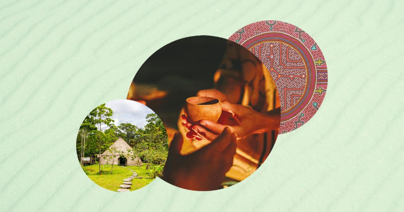 Cup of ayahuasca, maloka, and shipibo tapestry