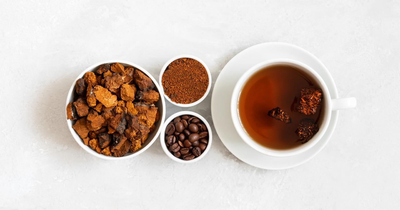 chaga mushrooms and coffee